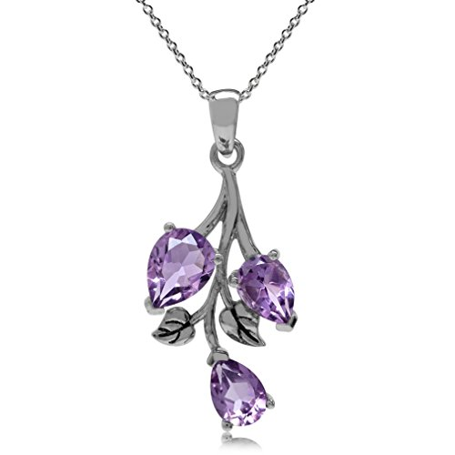 2.28ct. Natural Amethyst 925 Sterling Silver Leaf Pendant w/ 18 Inch Chain Necklace