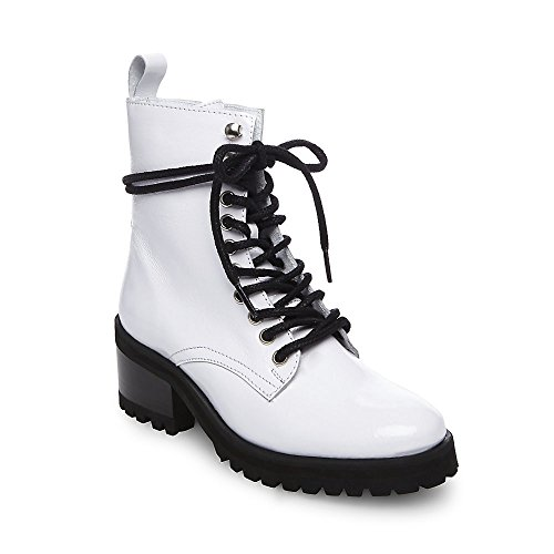 Steve Madden Women's Geneva Combat Boot, White Patent, 9 M US
