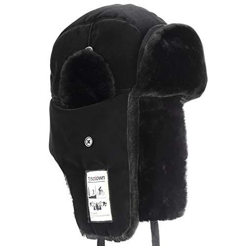 - mysuntown Trooper Winter Hat, Ushanka Skiing Hunting Hats, Unisex Style with Warm Ear Flap Fur Winderproof Bomber Hat(Black)