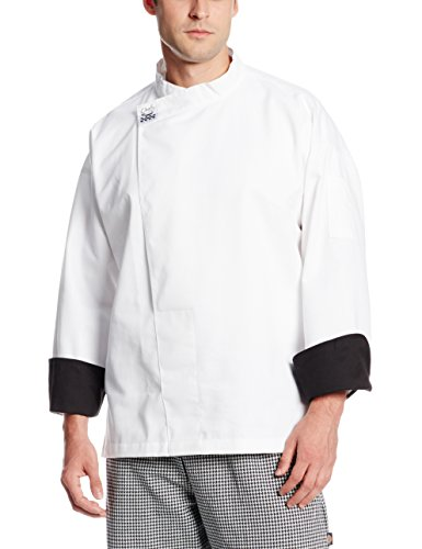Chef Revival T001 Chef-Tex Poly Cotton Executive Long Sleeve Pullover Chef Tunic with Black Cuffs and Hidden Snap Closure, 3X-Large, White ()