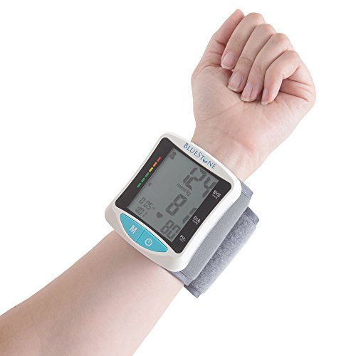 Automatic Wrist Blood Pressure Monitor with Digital LCD Display Screen- Fast BP and Pulse Readings, WHO Indicator and Adjustable Cuff by Bluestone (Wrist Blood Pressure Monitor Prevention)
