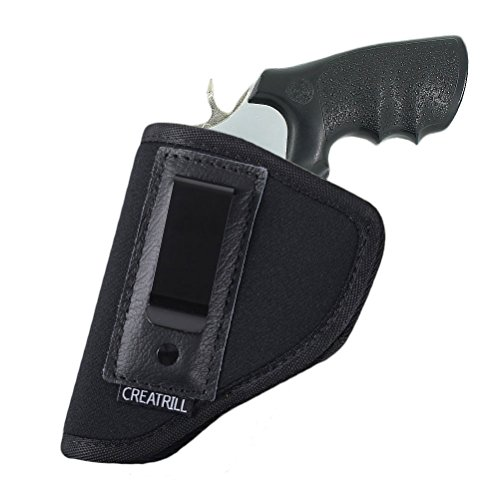 Creatrill Inside The Waistband Holster | Fits Most J Frame Revolvers/Ruger LCR/Smith & Wesson Body Guard/Taurus / Charter/Most .38 Special Type Guns | Gun Concealed Carry IWB or OWB Holster (Best Snub Nose Revolver For Concealed Carry)