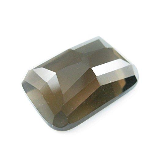 Cabochon Gemstone- Smokey Quartz- Faceted Rectangle Cabochon - Grade A , 13x18mm- 1 piece (Faceted Beads Quartz Rectangle)