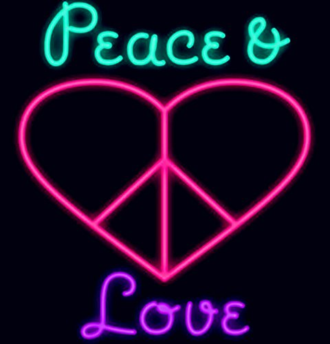 Mirsne neon signs, glass tube neon lights, 24'' by 24'' inch Peace&Love neon signs bar, the best neon sign custom supplied for a wide range of personal uses.