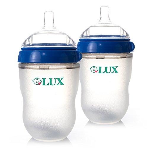 Wide Neck Non Drip Nipples (LUX Nature Baby Bottle Gift Set   Breastfeeding   Nursing   Anti Colic   Feeding Bottles   Infant   Newborn   BPA Free   No Leaking   Blue, 2 PACK, 8 ounces))
