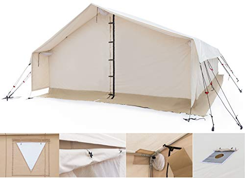 White Duck Outdoors Complete Canvas Wall Tent with Aluminum Frame and PVC Floor for Elk Hunting, Outfitter and Camping (16'X20′ Fire Water Repellent)