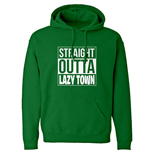Indica Plateau Hoodie Straight Outta Lazy Town X-Large Kelly Green Hooded Sweatshirt