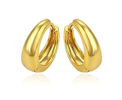 676779cf088862 Buy Gadgetsden Big Kaju Smooth Finish 22K Gold Huggie Hoop Earring For Men  & Women- 20Mm Online at Low Prices in India | Amazon Jewellery Store -  Amazon.in