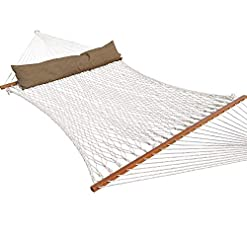 Garden and Outdoor TOUCAN OUTDOOR Cotton Rope Hammock, Double Hammock with Pillow, Capacity 450 lbs, for Outdoor Patio, Yard, and Porch hammocks