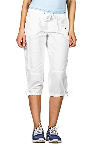 Suko Jeans Womens Stretch Poplin Cargo Capri Tie Bottom Hems 16726 WHITE 8