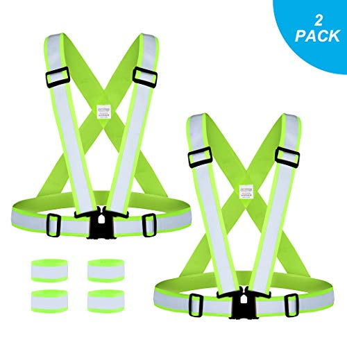 JARO VEGA Reflective Vest Running Gear, Adjustable Elastic Safety Vest with High Visibility Reflector Strips, for Walking Dog/Cycling/Motorcycling/Jogging, 2 x Vests & 4 x Wrist ()