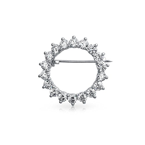 Bling Jewelry Rhodium Plated CZ Eternity Round Bridal Pin Brooch