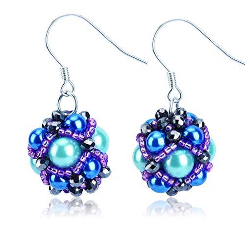 Jane Eyre Ball Dangle Earrings Boho Ethnic Multicolor Pierced Bead Earrings for Women Beaded Fish Hook Earrings (Blue & -