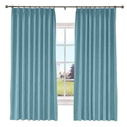 Macochico Polyester Cotton Blackout Lined Curtains Pinch Pleated Room Darkening Drapes for Bedroom Window Treatment Panel for Living Romm Bedroom, Everglade Teal 72