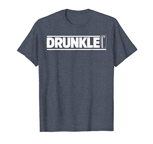 Mens DRUNKLE. FUNNY BEER DRINKING DRUNK UNCLE T-SHIRT XL Heather Blue