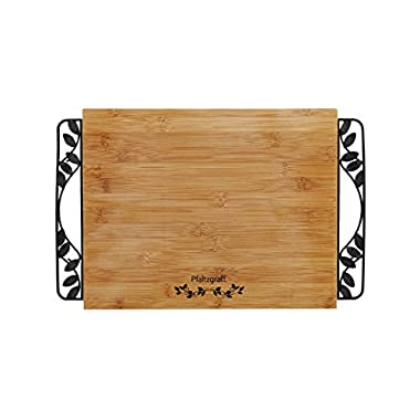 Pfaltzgraff Cutting Board With Rustic Leaf Metal Handles, Bamboo