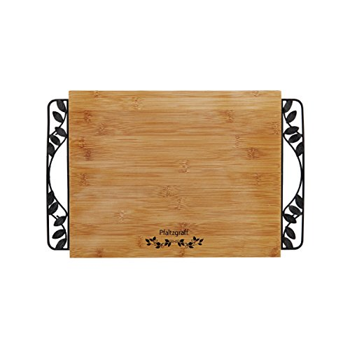 Pfaltzgraff Rustic Leaf Bamboo Cutting Board with Metal Handles, 11-Inch-by-14-Inch