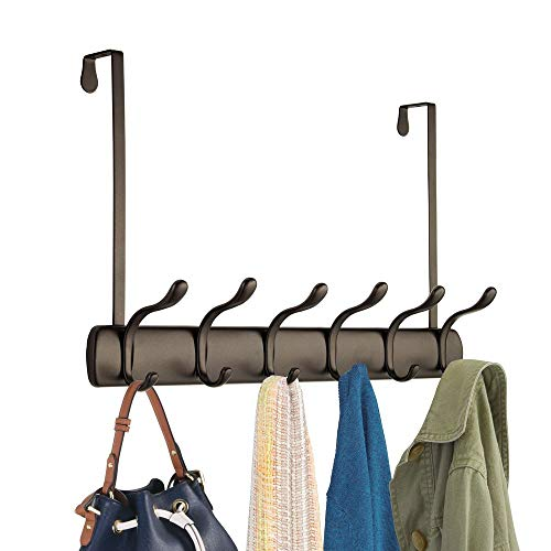 mDesign Decorative Over Door Long Easy Reach 12 Hook Metal Storage Organizer Rack to Hang Jackets, Coats, Hoodies, Clothing, Hats, Scarves, Purses, ...