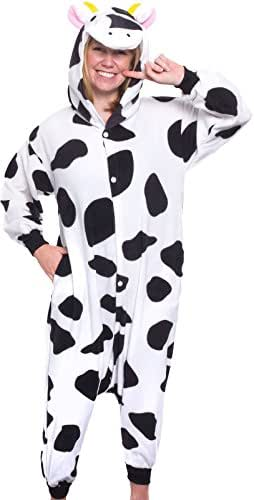 Plush One Piece Cow Animal Cosplay Costume - Unisex Adult Pajamas by Silver Lilly