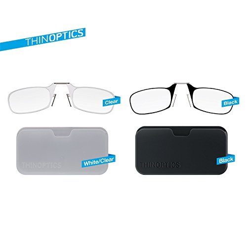 ThinOptics Reading Glasses + Black Universal Pod Case | Classic Collection, Clear Frames, 2.50 Strength by ThinOptics (Image #5)