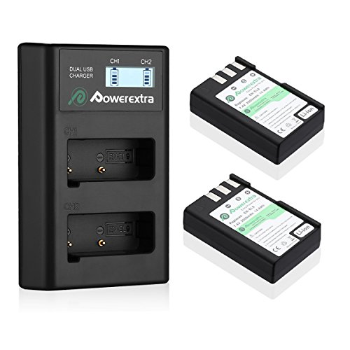 Powerextra 2 x EN-EL9 Battery & Charger with LCD Display Compatible with Nikon D40 D40x D60 D3000 D5000 Cameras