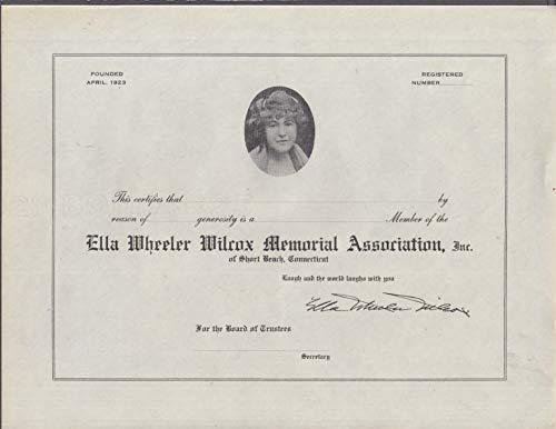 Ella Wheeler Wilcox Memorial Association Member Certificate 1960s Short Beach CT