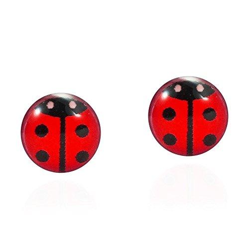 Petite Red Colored Enamel Beetle or Lady Bug .925 Sterling Silver Stud Earrings