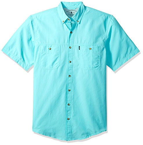 Cotton Short Sleeve Fishing Shirt (G.H. Bass & Co. Men's Big and Tall Explorer Fancy Short Sleeve Button Down Shirt, Rich Aqua Splash, 3X-Large)