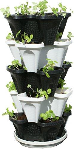 5 Tier Black & Grey Stackable Strawberry Garden – Vertical Gardening Planter Set For Sale