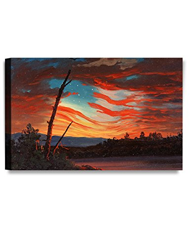 DECORARTS Our Banner in the Sky, Frederic Edwin Church Classic Art Reproductions. Giclee Prints Wall Art for Home Decor 30x20 x 1.5 (Decor Wall Patriotic)