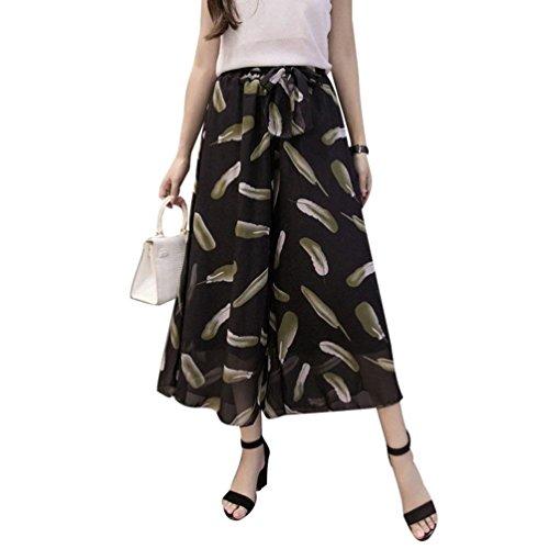 Chiffon High 1 Estivi Cintura Baggy Libero Waist Pantaloni Eleganti Modello Colour Donna Glamorous Gonna Inclusa Palazzo Pantalone Fiore Semplice Tempo Fashion Larghi Culotte cBWYqXnS