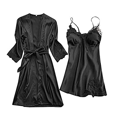 Rakkiss Women's Lace Kimono Robe Silk Sexy Babydoll Lingerie Mesh Nightgown 2 Piece Set