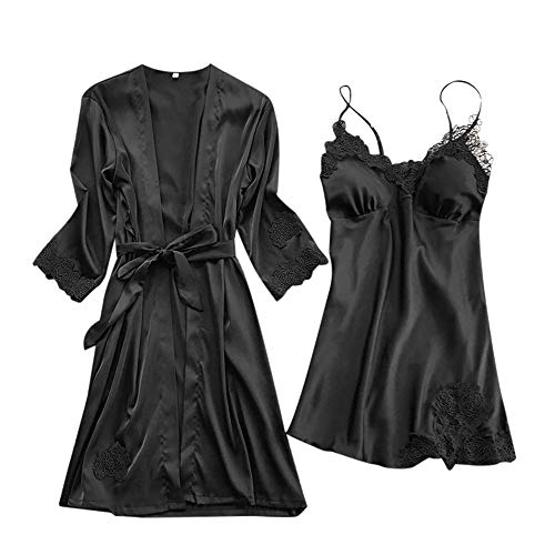 POQOQ Sleepwear Lingerie Women Satin Robe Dress Babydoll Nightdress Kimono Set M Black