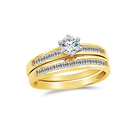 (Sonia Jewels Size - 6.5-14k Yellow Gold Round Channel Set Small Bridal Engagement Ring & Wedding Band CZ Cubic Zirconia (1.50cttw.50ct. Center))