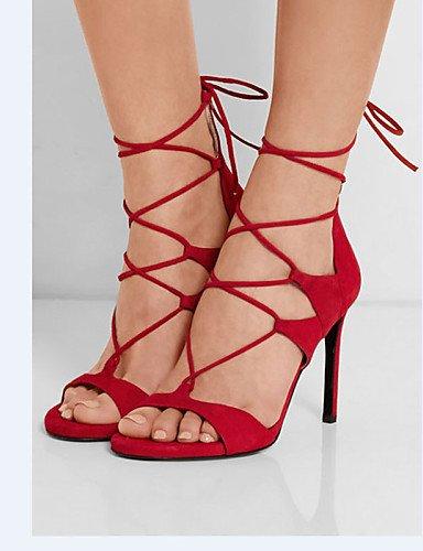 LFNLYX Zapatos de mujer-Tacón Stiletto-Tacones / Punta Abierta-Sandalias / Tacones-Vestido / Casual / Fiesta y Noche-Cuero-Negro / Rojo Green