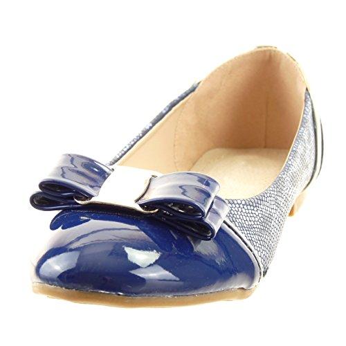 Sopily - Scarpe da Moda ballerina alla caviglia donna pelle di serpente nodo verniciato Tacco a blocco 1 CM - soletta sintetico - Blu