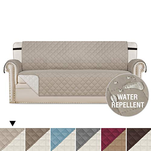 H.VERSAILTEX Pet Friendly Reversible Quilted Furniture Protector, Stay in Place with Adjusts Straps, Microfiber Soft and Luxurious Slipcovers (Sofa: Khaki/Beige) - 75