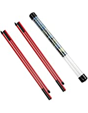 Rhino Valley Golf Alignment Sticks - 2 Pack Collapsible Golf Practice Rods for Aiming, Putting, Full Swing Trainer, Posture Corrector with Clear Tube Case, Portable Golf Training Equipment