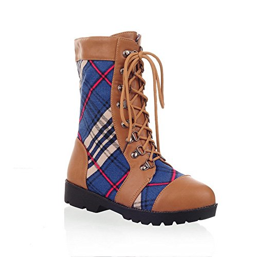 AmoonyFashion Womens Closed Round Toe Low Heels PU Fabric Assosrted Colors Boots with Bandage Camel AHQr4V4AgI
