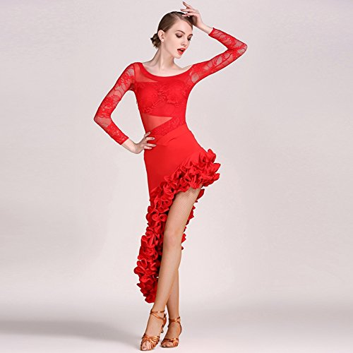 Latine Wqwlf Cosetume Costumes Longues performance Femmes Dentelle Danse jupe Drapé tulle Formation Top Manches l Red 4p47cn5W