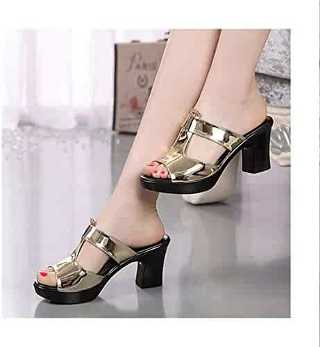 f9fa9acaee7 HANBINGPO Fashion Women s Shoes Patent Leather Slippers Female Sandals  Casual Slip-On Fretwork Cut-