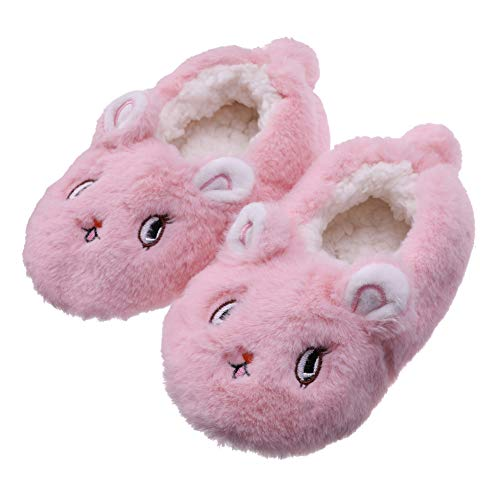 FANZERO Toddler Kids Girls Boys Cute Cartoon Soft Warm Plush Lining Non-Slip Slippers Winter House Shoes 1-5 Year Old (L / 3-5 Year Old, Pink Rabbit)