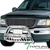 f150 brush guard - Topline Autopart Stainless Steel Chrome HD Heavyduty Bull Bar Brush Push Front Bumper Grill Grille Guard V2 w/ Skin Plate 97-04 F150 F250 Heritage / 97-02 Expedition