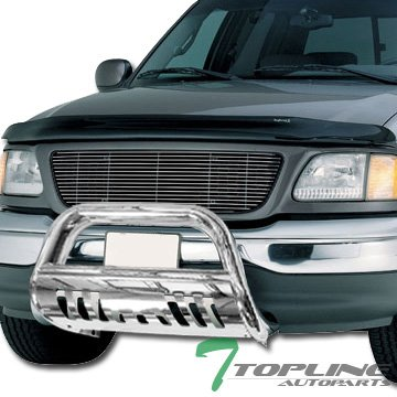 Topline Autopart Stainless Steel Chrome HD Heavyduty Bull Bar Brush Push Front Bumper Grill Grille Guard V2 w/ Skin Plate 97-04 F150 F250 Heritage / 97-02 - Bully Brush Guard