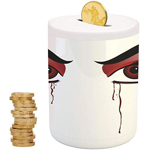 Vampire,Piggy Bank,Printed Ceramic Coin Bank Money Box for Cash Saving,Red Eyes of a Woman Dropping Blood Tears Female Foe Threatening Look Danger Decorative