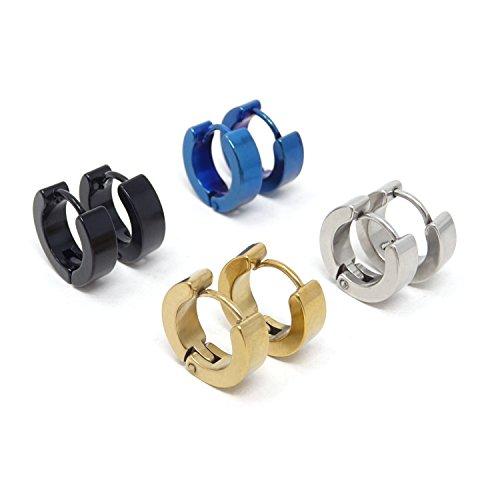 Honbay 4Pair 316L Stainless Steel Punk Style Nice Small Hoop Earrings Piercing Hypoallergenic Huggie Earrings for Men or Women 4mm Medium Hoop Earrings