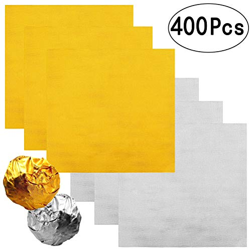 4 Inch Home-made Chocolate Candy Foil Wrappers Gold Aluminium Foil Mylar Wrapping Papers Sheets Wedding Thank You Treat Candy Packaging Gift Decoration, 400 PC ()