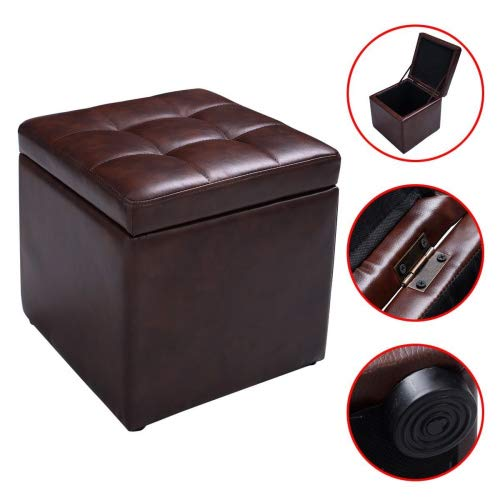 (New Brown Cube Ottoman Pouffe Storage Box Lounge Seat Footstools with Hinge Top)