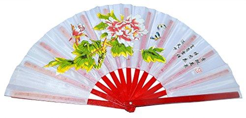 Fan Flower Bamboo - Chinese Kung Fu Tai Chi Fan Arts Dance/Practice Performance Bamboo Folding Fan Peony Flower Pattern (White)