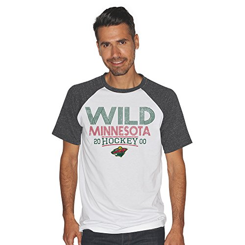 - G-III Sports NHL Minnesota Wild Men's Heritage Color Block Short Sleeve Tri Blend Top, X-Large, White/Charcoal